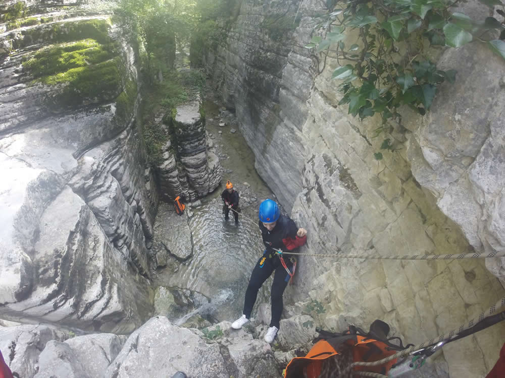 Canyoning | Descend through Small Canyons by Rappeling – Snappling in order to enjoy the thrilling scenery of Vikos-Aoos Geopark in Zagorochoria, Greece